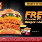 KFC: Free Double Zinger Burger Combo eVoucher