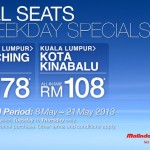 Malindo All Seats Weekday Specials: Fly to Kuching @ RM78 and Kota Kinabalu @ RM108 only!!