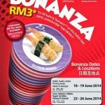 Sushi King Bonanza 2014 Promotion: RM3 for ALL Rice-Based Sushi and Tsumami on Kaiten Belt!!