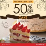 Secret Recipe Tea Time Promotion: ANY Slice of Cake @ 50% Discount Promotion 2014