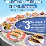 Sushi King RM3 for ALL Sushi and Tsumami on the Kaiten Belt!