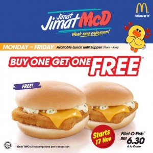 Mcdonald 39 s buy 1 free 1 promotion for fillet o fish burger for Mcdonald s fish sandwich price