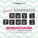 The Face Shop Storewide Buy 1 FREE 1 Promotion