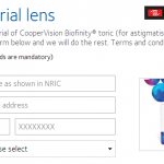 CooperVision Biofinity Toric (for Astigmatism) FREE Trial Contact Lens Giveaway