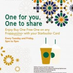 Starbucks Frappuccino Buy 1 FREE 1 Promotion at ALL Starbucks Stores!