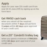 Citibank Credit Card Promo: Enjoy Cash Back and FREE Condotti Trolley Bag Giveaway