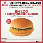 Wendy's Crispy Chicken Burger for only RM1 Promotion