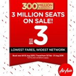 Air Asia 3 Million Seats On SALE! Price from only RM3!