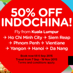 Air Asia Indochina Flight Tickets at 50% Discount Promotion!