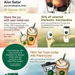 Starbucks Alor Setar Buy 1 FREE 1, FREE Starbucks VIA Latte Sachet, Triple Coffee Jelly Frappuccino Giveaway!