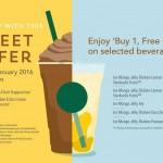 Starbucks Buy 1 FREE 1 Promotion 2016
