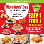SAKAE Sushi Buy 1 FREE 1 ALL Red Plates Promotion!
