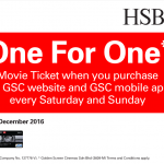 HSBC Credit Card Promo: GSC Movie Ticket Buy 1 FREE 1 Promotion
