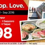 AirAsia Osaka, Tokyo, Sapporo, Seoul, Busan, Taipei from only RM298!