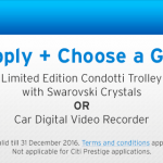 Citibank FREE Limited Edition Condotti Trolley Bag with Crystal Swarovski Crystals OR Car Digital Video Recorder