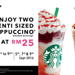 Starbucks 2x Venti Sized Frappuccino for only RM25