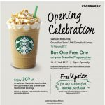 Starbucks Frappuccino Buy 1 FREE 1 + Merchandise at 30% Discount Promotion