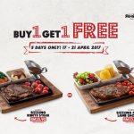NY Steak Shack Buy 1 FREE 1 Promotion
