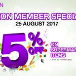 AEON 5% OFF on Supermarket Item (ONE DAY Only) 超市产品,额外折扣5%(只限一天哦)!