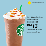 Starbucks Grande Size Handcrafted Beverage for only RM13 星巴克饮料只要RM13促销!