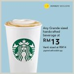 Starbucks Grande Sized Handcrafted Beverage @ RM13 星巴克咖啡特别促销!