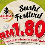AZUMA Sushi All Color Plate on Sushi Belt @ RM1.80 only 寿司只要RM1.80促销!