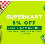 LAZADA Supermart 8% Off Promo Code 给你额外8%折扣码!