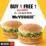 McVEGGIE Buy 1 FREE 1 Promo 蔬菜汉堡买一送一促销!