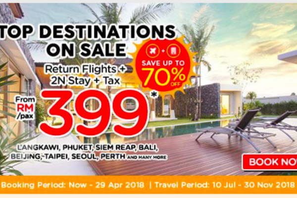 Return Flight + 2N Stay + Tax from only RM399 per pax 双程机位+住宿,一人只要RM399!