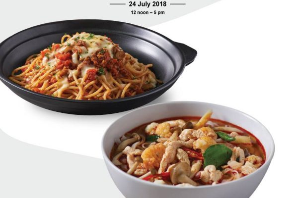 Secret Recipe Noodle in Tom Yum Soup and Spaghetti Bolognese Buy 1 FREE 1 Promo 主食买一送一促销!